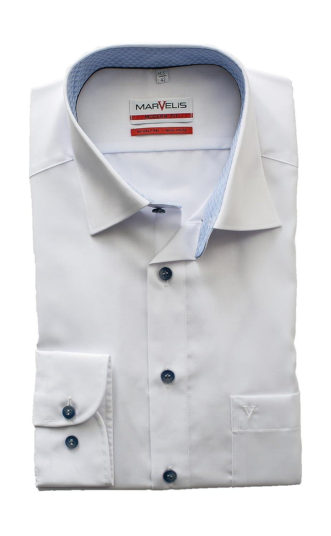 Slim Fit Marvelis-Herren Hemd 100/%Baumwolle Bügelfrei   Modern Fit