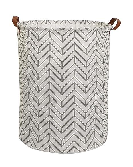 Clocor Collapsible Round Storage Bin/Large Storage Basket/Clothes Laundry Hamper/Toy Storage Bin (Grey Geometry) by Clocor