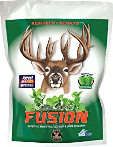 Whitetail Institute Fusion Deer Food Plot Seed for Spring or Fall Planting - Blend of Clover and Chicory for Maximum Deer Attraction - Heat, Cold, Drought and Disease Tolerant