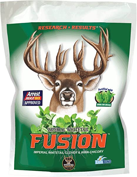 Whitetail Institute FUSION Deer Food Plot Seed for Spring or Fall Planting, Blend of Clover and Chicory for Maximum Deer Attraction, Heat, Cold and Drought Tolerant