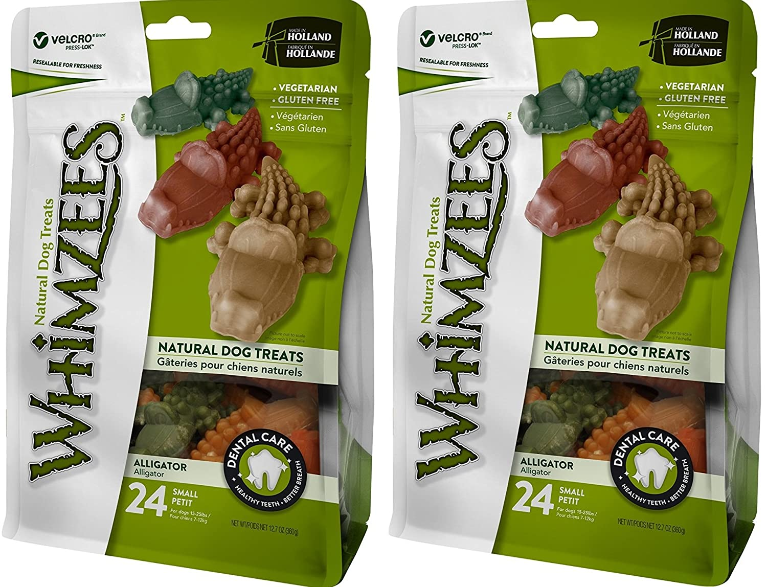 2 Pack Whimzees Natural Grain Free Dental Dog Treats, Alligator