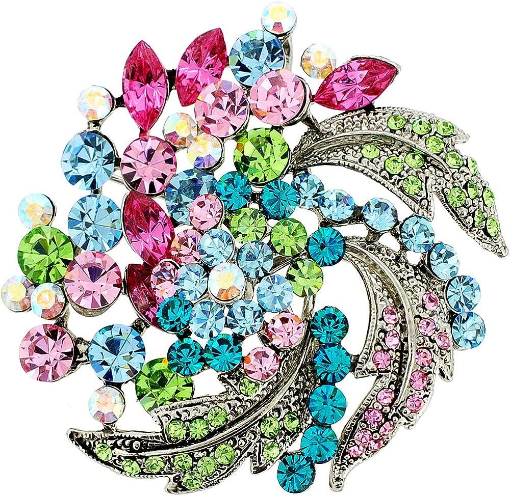 Fantasyard Multicolor Flower Wedding Swarovski Crystal Pin Brooch and Pendant