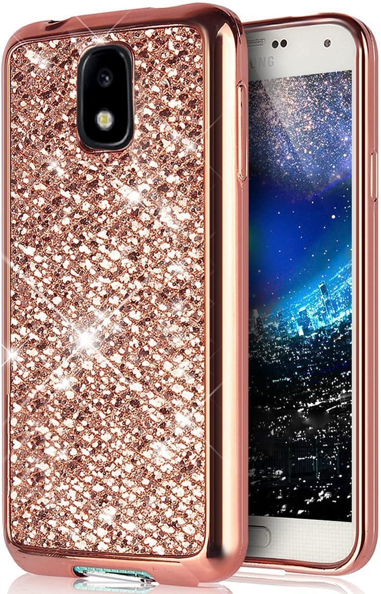 Galaxy J3 2017 Case,Surakey Luxury Bling Glitter Sparkle Soft TPU Silicone Rubber Gel Shiny Sparkling with Candy Back Plate Cover Case Gifts for Samsung Galaxy J3 2017,Black