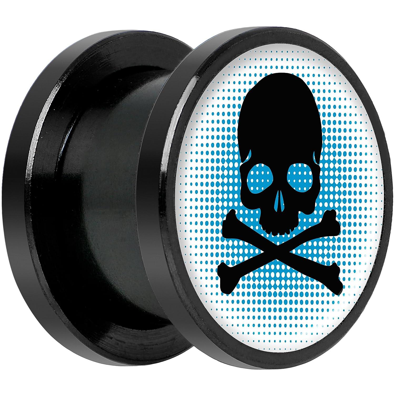 Body Candy Black Anodized Steel Blue Black Skull Screw Fit Plug Set 5mm to 20mm