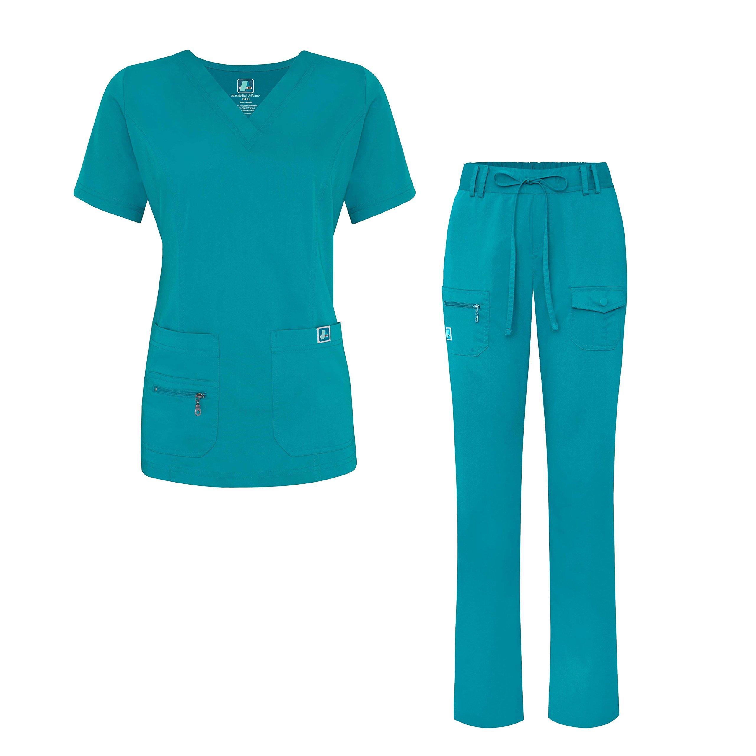 Adar Indulgence Jr. Fit Women's Scrub Set - Enhanced V-Neck Top/Multi Pocket Pants - 4400 - Teal Green - XXS