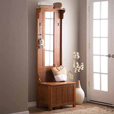 Wooden Entryway Tall Hall Tree Bench Coat and Hat Rack with Mirror in Oak Finish. With 2 Double Hooks in Antique Bronze, Storage Bench Base and a Full Length Central Mirror.