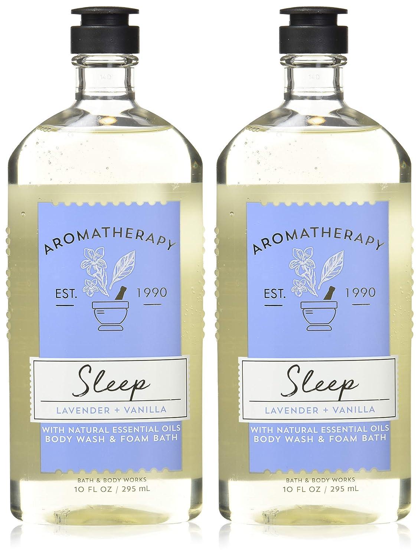 Bath and Body Works Aromatherapy Sleep Lavender Vanilla Body Wash Foam Bath 10 Ounces per bottle - 2 Pack