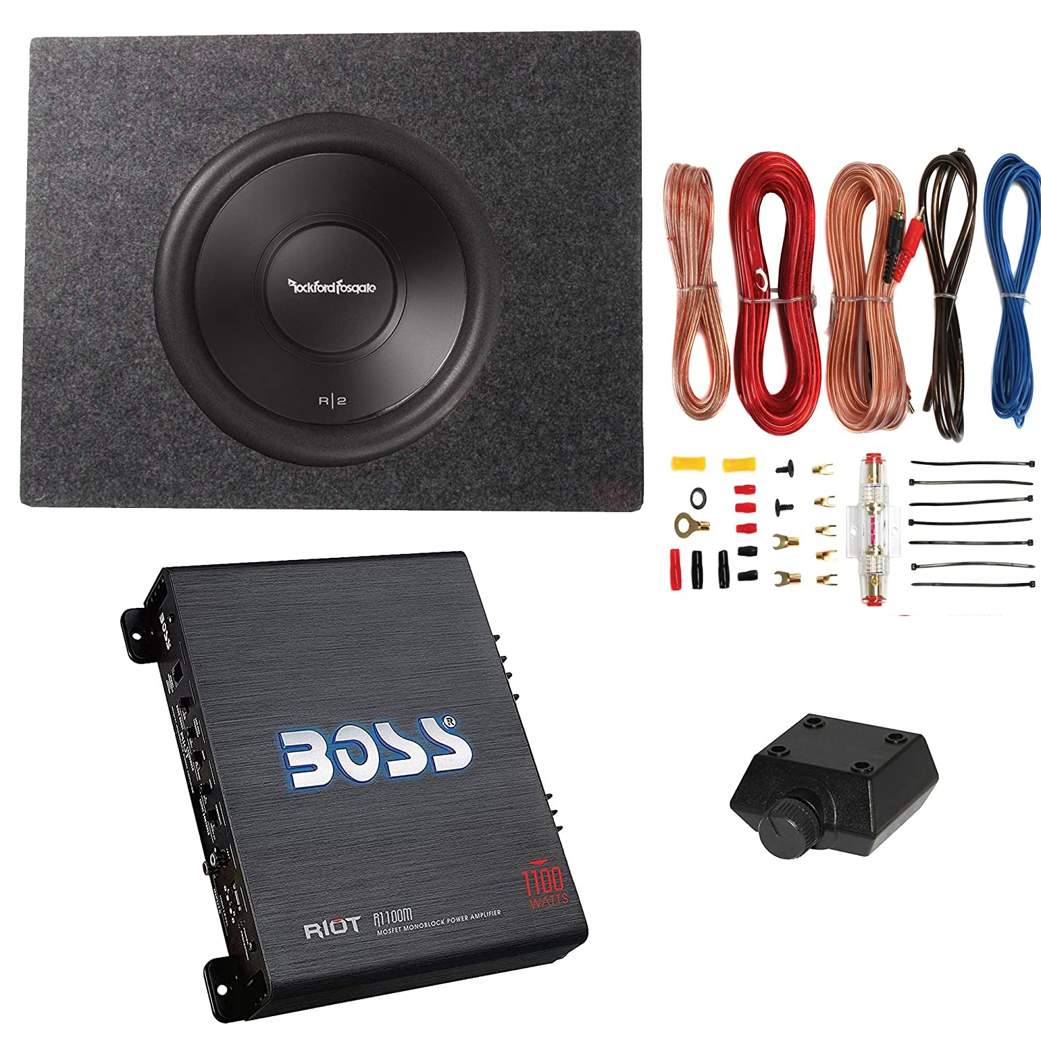 Rockford Fosgate 500w Subwoofer Q Power Truck Boss Wiring Diagram 2 Subwoofers 1 Amp Enclosure 1100w Amplifier Musical Instruments