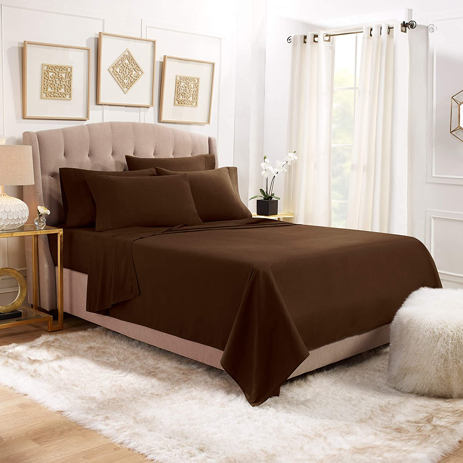 6 Piece King Sheets - Bed Sheets King Size – Bed Sheet Set King Size - 6 PC Sheets - Deep Pocket King Sheets Microfiber King Bedding Sets Hypoallergenic Sheets - King - Chocolate Brown