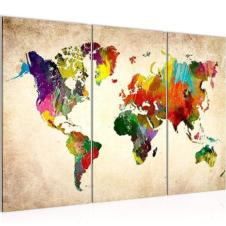 Bilder Weltkarte World map Wandbild 120 x 80 cm Vlies - Leinwand Bild XXL  Format Wandbilder Wohnzimmer Wohnung Deko Kunstdrucke Bunt 3 Teilig - Made  ...