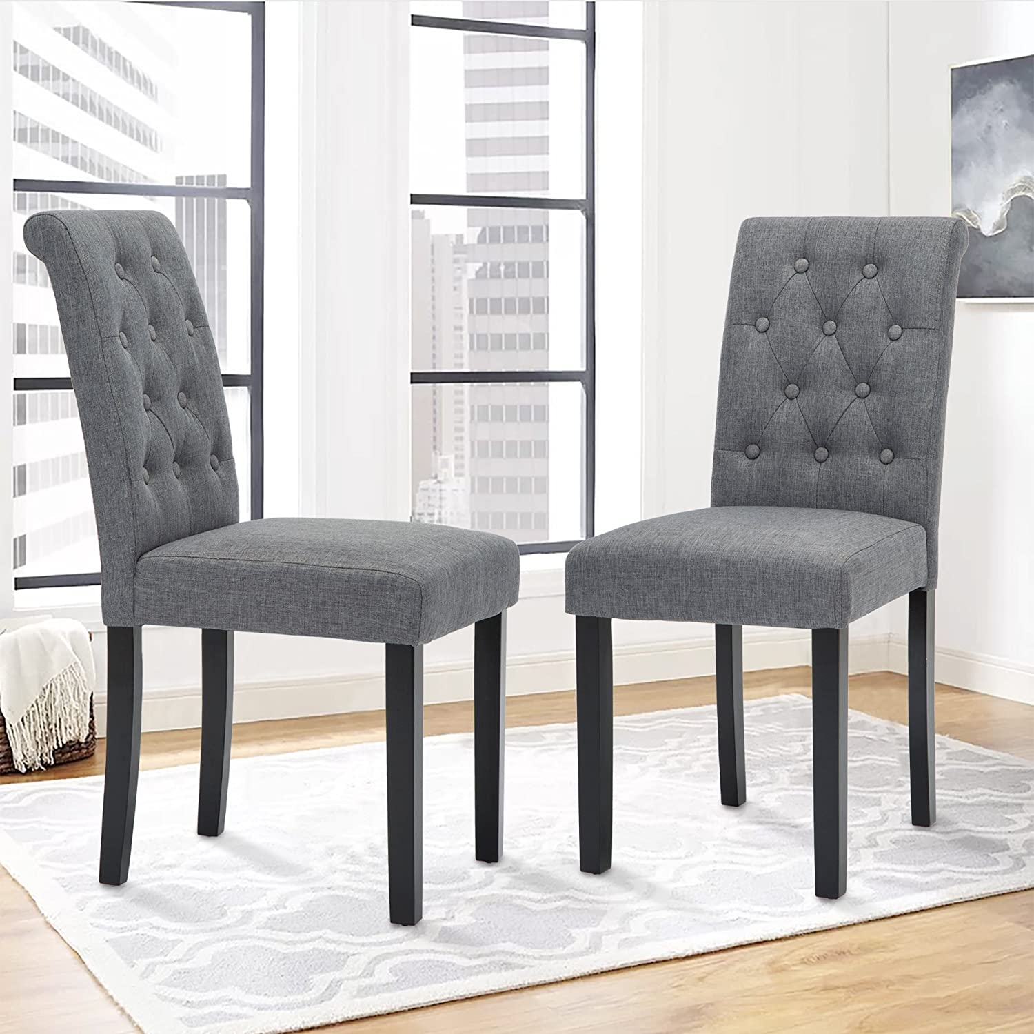Set of 2 Upholstered Fabric Dining Chairs with Button-tufted Details (Black) Thksbought