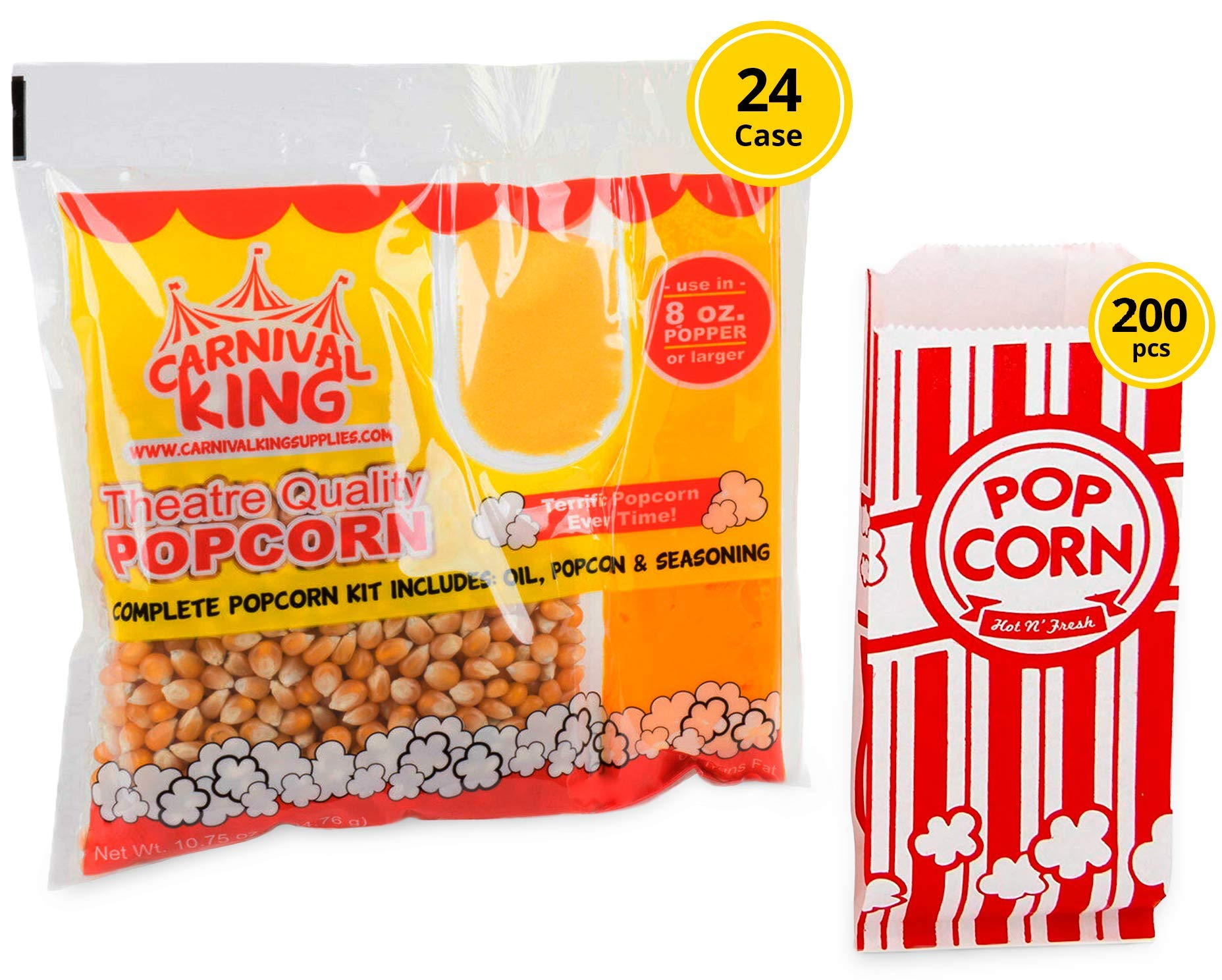 Carnival King Popcorn Kits For Popcorn Machines 8 oz - 200 Popcorn Bags And Popcorn And Oil Packets (24pcs) - w/ 4 Coasters, Ebook Bundle