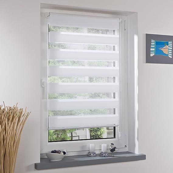 Liedeco® DUO Rollo Klemmfix - 80 x 200 cm weiß (Breite x Höhe) / transparent lichtdurchlässig blickdicht und stufenlos verste