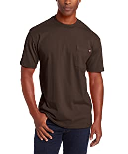 Dickie's Men's Heavyweight Crew Neck Short Sleeve Tee Big-tall,Chocolate,Large Tall