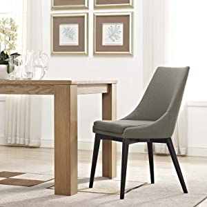 Modway Viscount Mid-Century Modern Upholstered Fabric Kitchen and Dining Room Chair in Granite