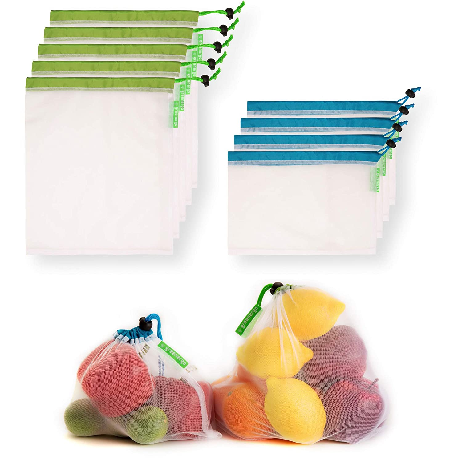 GreenerGo 9 Machine-Washable  Reusable Produce Bags  Eco-Friendly Mesh Bags Made from rPET - Fully Transparent with Drawstring - for Fruits  Veggies and More - Barcode Readable - Zero-Waste Products