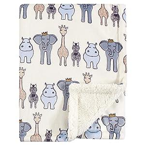 Hudson Baby Mink Blanket with Sherpa Backing, Royal Safari, One Size
