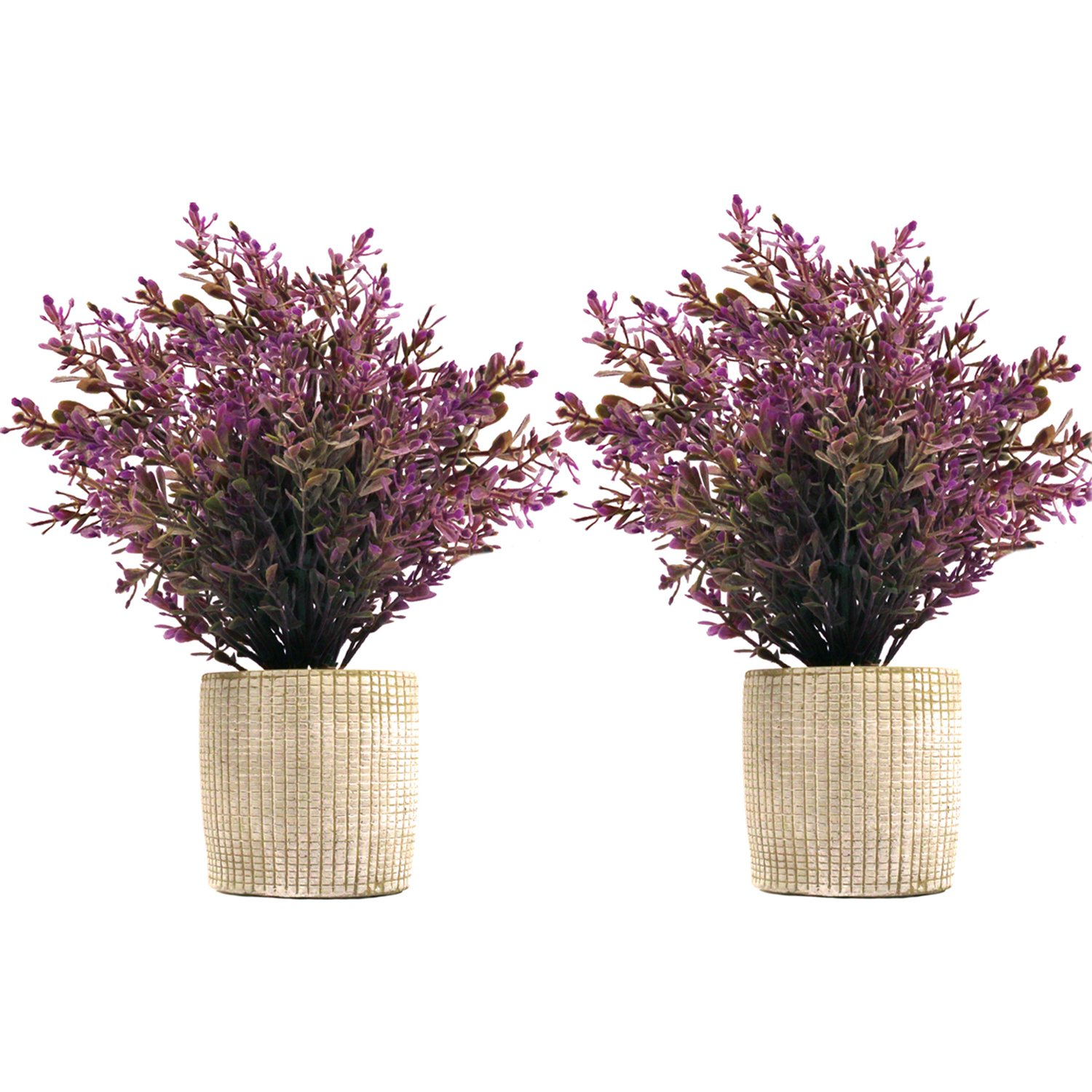 SHACOS 2 Pack of Artificial Potted Plants,Plastic Bonsai Plants with Retro Cement Planter Fake Greenery for House Office Garden Outdoor Décor (Purple Aglaia Odorata, 2) 4946112948662