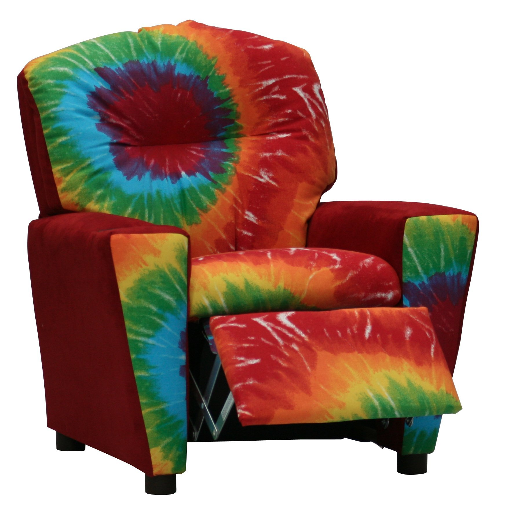 Toddler Upholstered Recliner - Your Child will Love Having Their Own Chair - 2 Tie Dye Fabric Choices (Red Tie Die Sunburst)