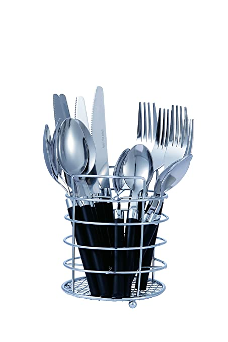 Bon Funnel 16 Piece Stainless Steel Flatware Set   Black