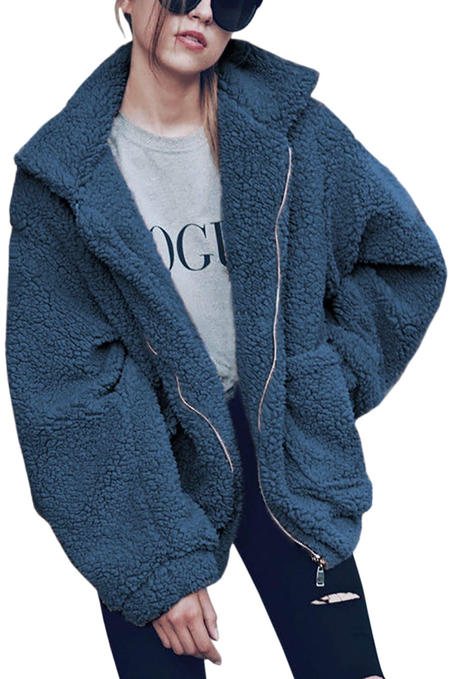 ECOWISH Women's Coat Casual Lapel Fleece Fuzzy Faux Shearling Zipper Warm Winter Oversized Outwear Jackets Blue XL by ECOWISH