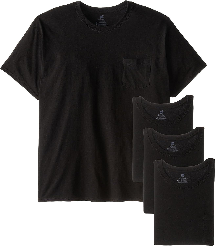 Hanes Mens FreshIQ Odor Control 4-Pack Pocket Crew T-Shirt