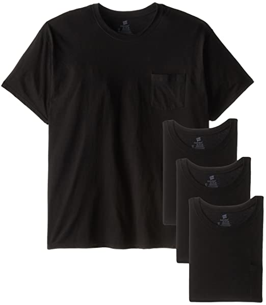 341f21530 Hanes Men's 4-Pack FreshIQ Assorted Pocket T-Shirt, Black, Small