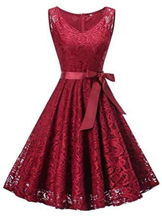 KT-SUPPLY Women Floral Lace Bridesmaid Party Dress Short Prom Dress V Neck Burgundy S