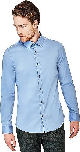 Guess Camisa Blanca y Azul Manga Larga Hombre (M - Azul ...