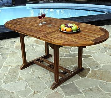 Table ovale de jardin en teck huilé avec rallonge papillon : 120-180 ...