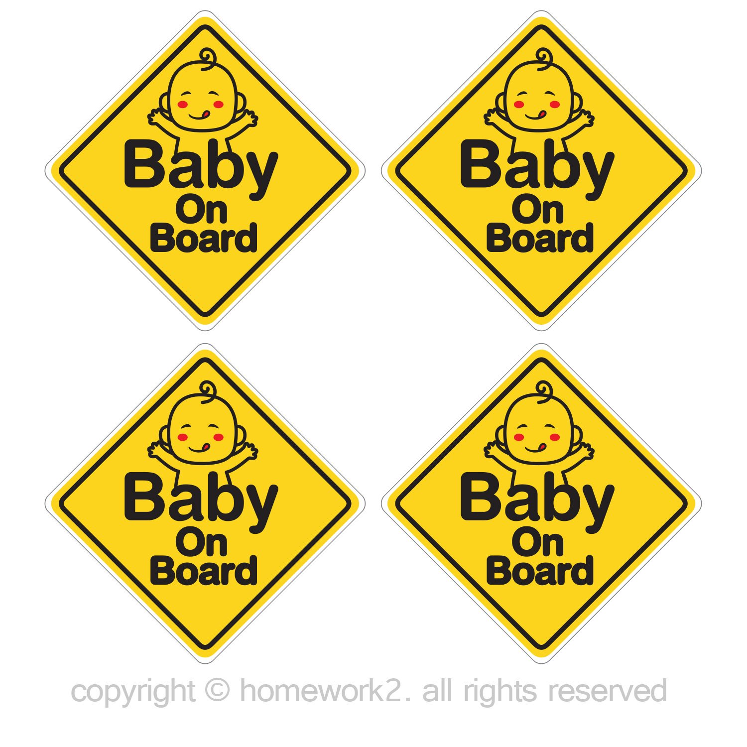 Homework2 Baby On Board Stickers for baby safety sign, Vinyl Decals, UV Protected & Waterproof, 4 X 4 Inch - 4 Labels