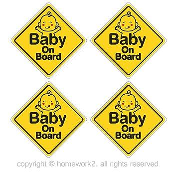 Amazon.com: homework2 Baby on board pegatinas para bebé ...