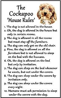 Funny Dog Golden Retriever House Rules Refrigerator Magnet Gift Card Insert