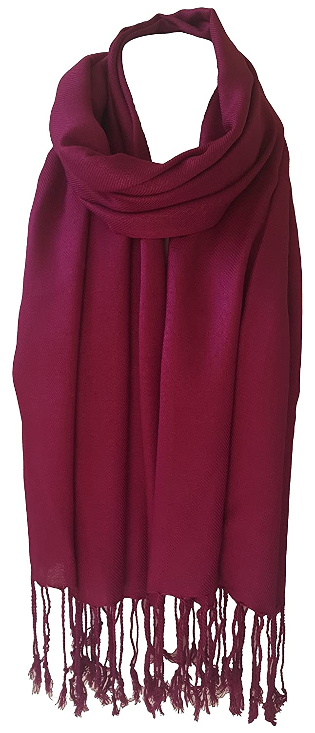 467f4a0a6 World Of Shawls Unisex Plain Pashmina Scarf Shawl Stole Wrap High Quality  100% Viscose Factory Clearance SEASONAL COLOURS (Raspberry Wine):  Amazon.co.uk: ...