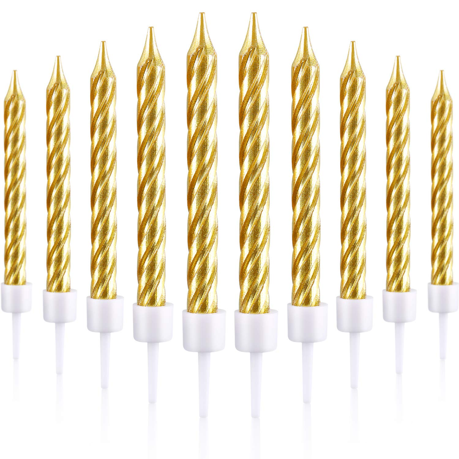 Gold Blulu 50 Pieces Cake Candles in Holders Metallic Cake Cupcake Candles Short Thin Cake Candles for Birthday Wedding Party Cake Decorations