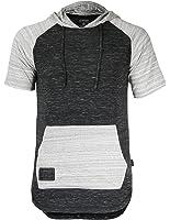 ZIMEGO Men's Short Sleeve Raglan Hoodie Round Bottom Semi Longline T-Shirt