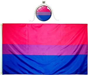 Eugenys Bi Pride Flag (3x5 Feet) - Free Nice Necklace Included - Looks Very Nice on Both Sides - Large LGBT Bisexual Flag with Brass Grommets - Perfect Banner for Hanging Indoor/Outdoor