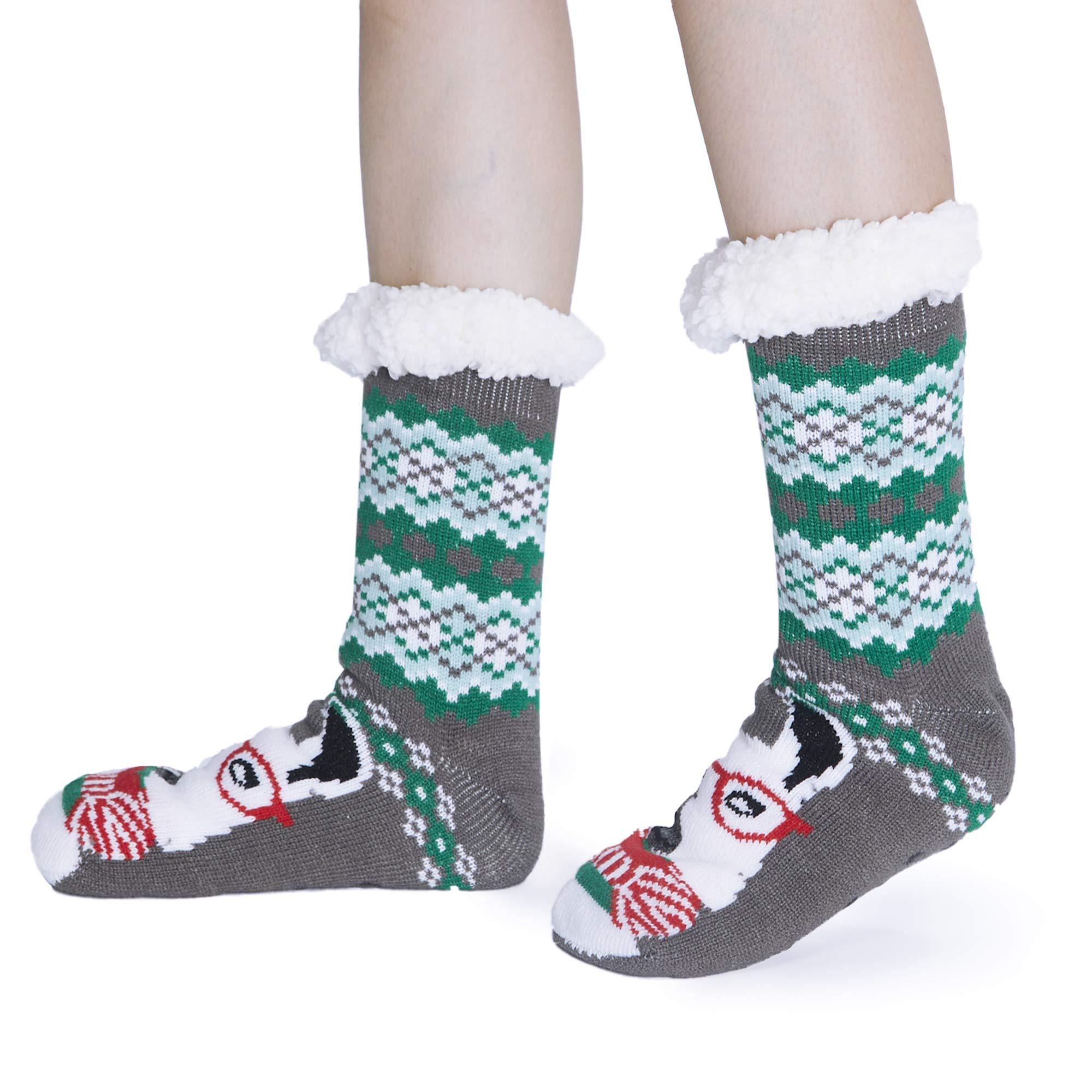 ALISISTER Women Men Fuzzy Cozy Soft Warm Fleece lined Winter Slipper Socks Red 3D Cute Reindeer Winter Christmas Gift Socks With Non Slip Grippers