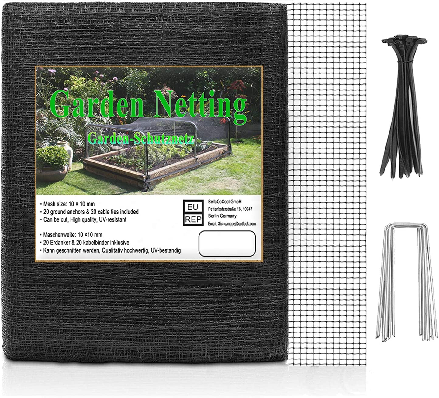 Bird Netting 65 x 7.5ft Deer Fence Netting, Chicken Netting, Reusable Extra Strong Plastic Garden Netting, Protect Plants and Fruit Trees, Lasting Against Squirrel, Eagle, Skunk, Raccoon, Deer, Birds