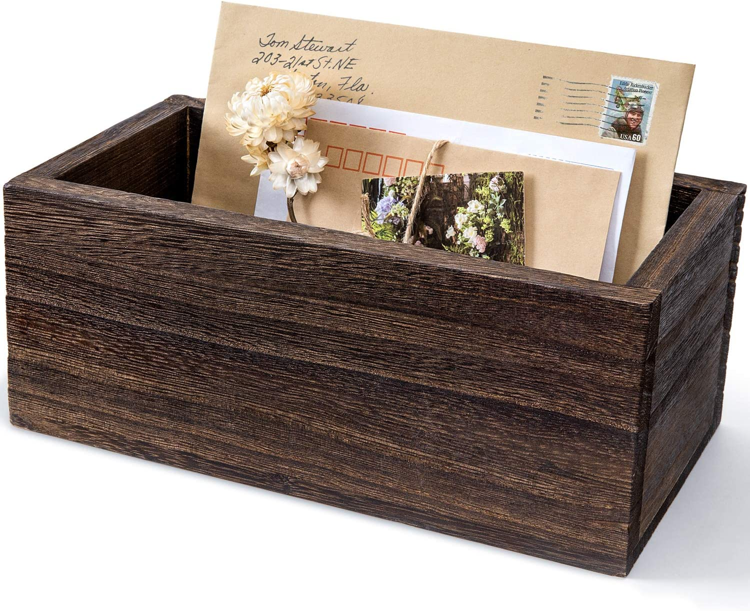 Dahey Wood Mail Organizer for Countertop Rustic Mail Holder Desk Letter Bill Envelope Accessories Storage Box Decorative Mail Sorter for Tabletop Home Office Kitchen : Office Products