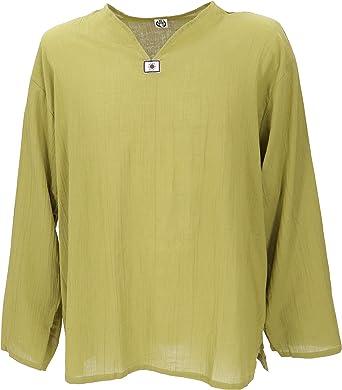 GURU-SHOP Camisa de La Yoga, Camisa de Goa, Algodón, Camisas de Hombre: Amazon.es: Ropa y accesorios