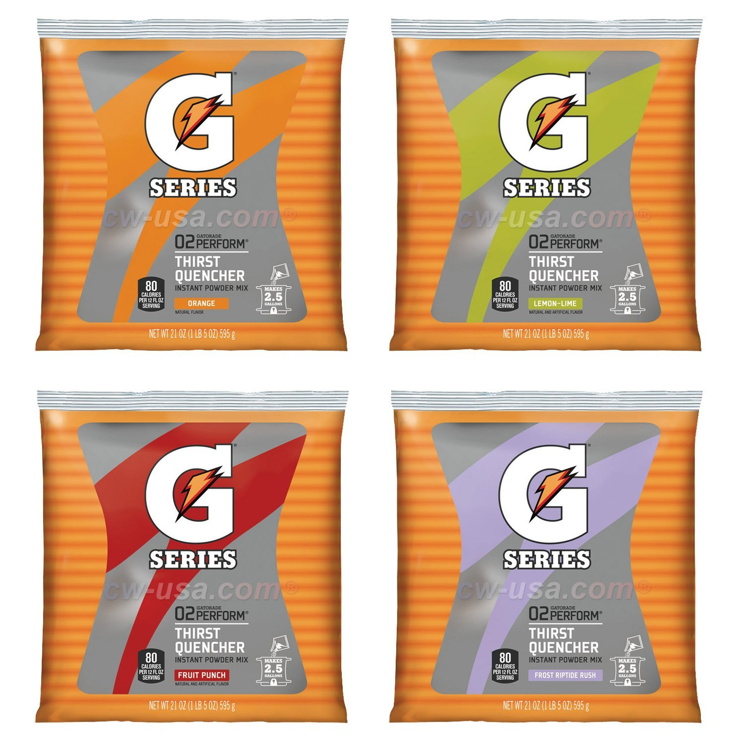 Gatorade Powder Variety Pack (Lemon-Lime, Orange, Fruit Punch, Riptide Rush), 21-Ounce Pouches (Pack of 32)