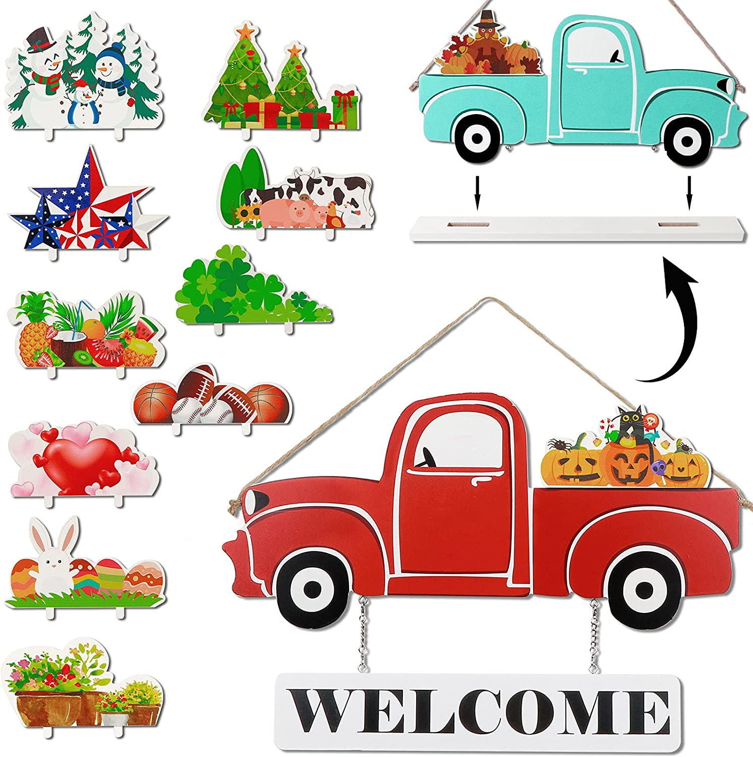AerWo Interchangeable Welcome Sign for Front Door Red Truck Decor, Wood Double Sided Home Sign Wall Hanging Decor with 12-PC Holiday Icons for July 4th Fall Halloween Christmas Summer Table Decor