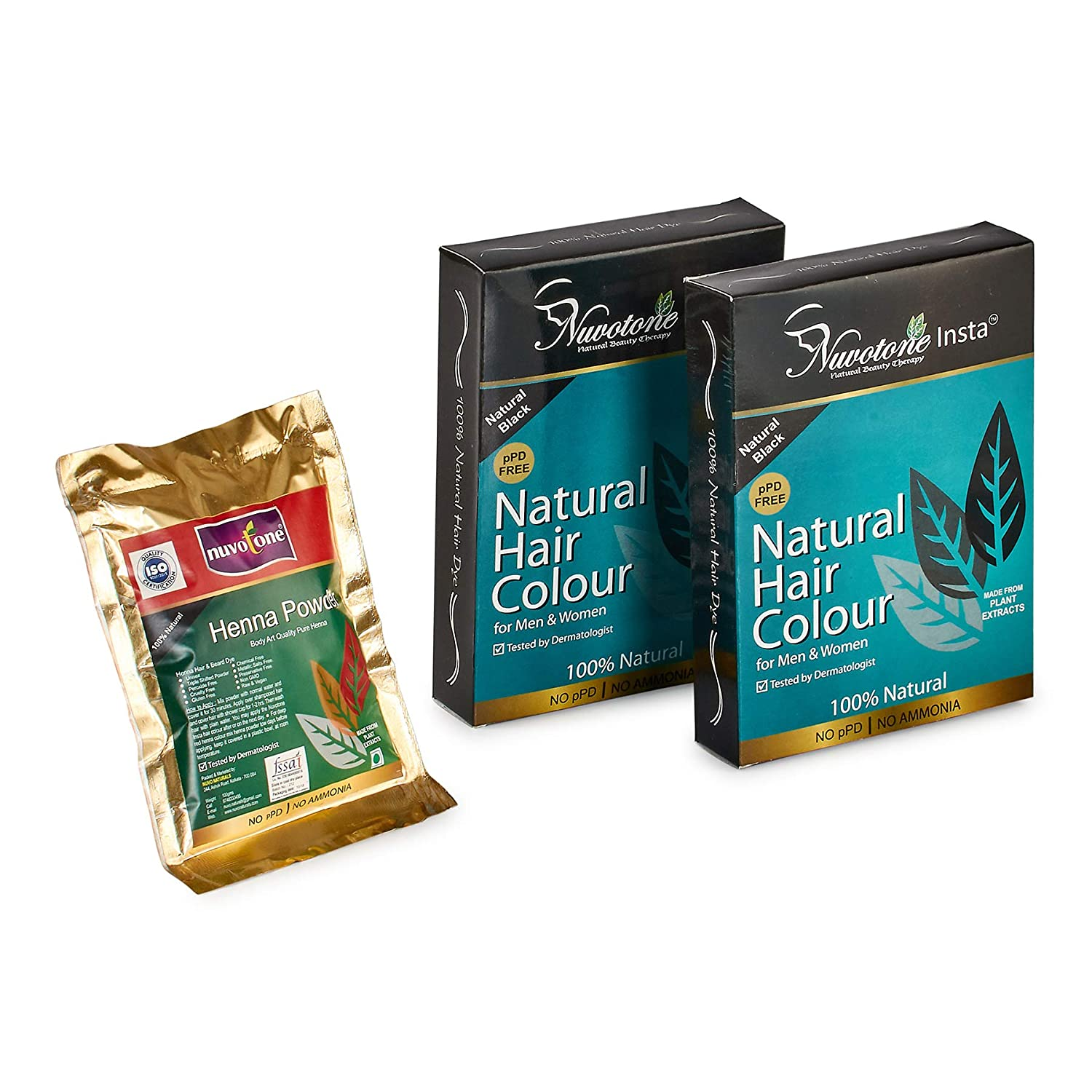 Buy Nuvotone Ppd And Ammonia Free Ayurvedic Natural Black Hair Color Kit Insta Natural Hair Color Natural Black Pack Of 2 And Body Art Quality Henna Powder Online At Low Prices In