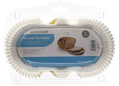 """Kitchen Craft Non-Stick Paper 1 lb Loaf Tin Liners, 16.5 x 8.5 cm (6.5"""" x 3.5"""") (Pack of 40)"""