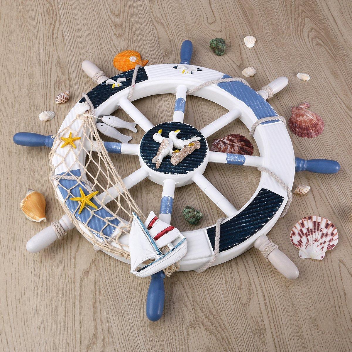 WINOMO 18-Inch Wheel Wall Decor Nautical Decor Nautical Boat Steering Wheel