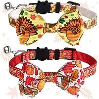 Lanstics Thanksgiving Cat Collar Fall Autumn Cat Collar with Bow Tie Bell Pet Collar for Cat Kitten Collar Pumpkin…