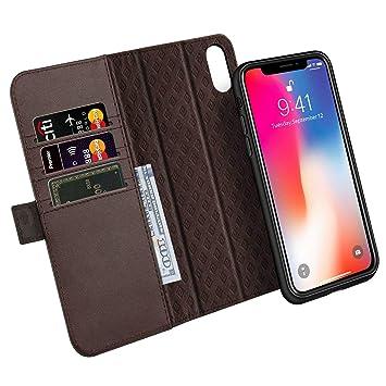a2d1fcb45 ZOVER iPhone XS ケース iPhone X ケース 手帳型 取り外しな財布型 本革ケース
