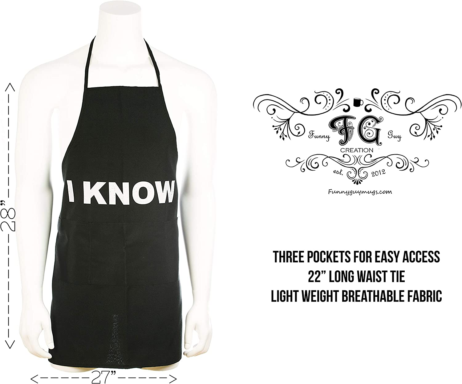 Funny Apron for Couples Funny Guy Mugs 2 Pack I Love You /& I Know Aprons with Pockets Perfect for Kitchen BBQ Grilling Barbecue Cooking Baking Crafting Gardening