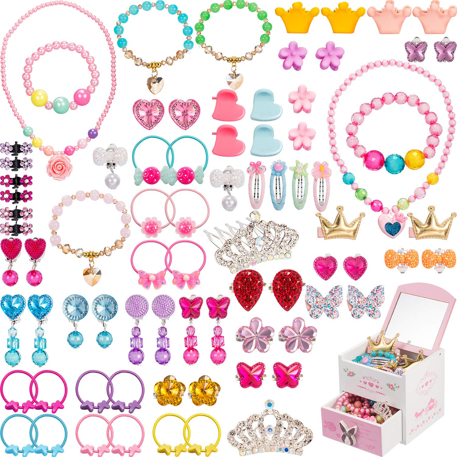 Gejoy 80 Pieces Girls Dress Up Accessories with Jewelry Box Girls Princess Jewelry, Necklace, Bracelet, Rings, Clip on Earrings, Hair Clips, Hair Ties, Mini Hair Claws (Style 3)